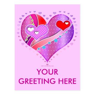 Postcard - Pink Heart, Valentine