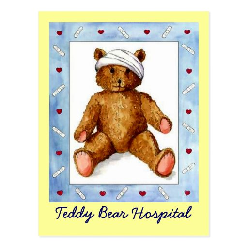POSTCARD PROMO FOR TEDDY BEAR REPAIRS HOSPITAL AD