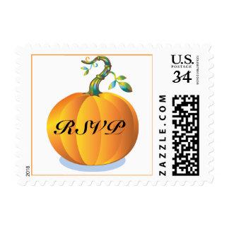 Postcard Pumpkin RSVP Custom Wedding Postage Stamp