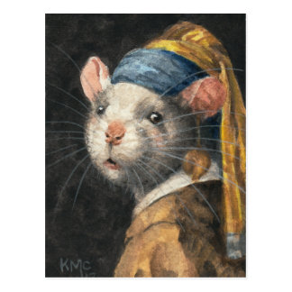 "Postcard ""Rat with a Yogie Earring"" painting"