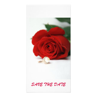 postcard red rose  SAVE THE DATE