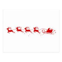 Postcard Reindeers and Santa Claus