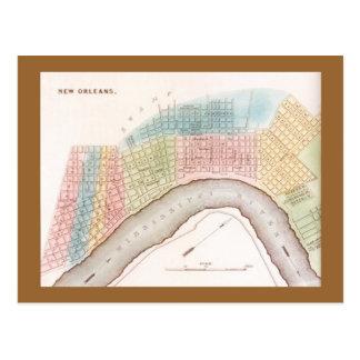 Postcard Rep Antique New Orleans Louisiana map