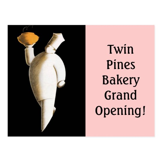 Postcard retro bakery business chef Grand Opening!