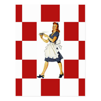 Postcard Retro checkers Squares Diner Tile Look