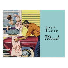 Postcard Retro Couple Moving In Moved New Address at Zazzle
