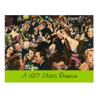 Postcard Retro Fun Class Reunion Party Bash Crowd