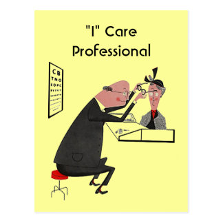 "Postcard Retro ""I"" Care Professional optometrist"