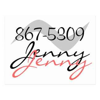 Postcard Retro Jenny 867-5309 for a good time call