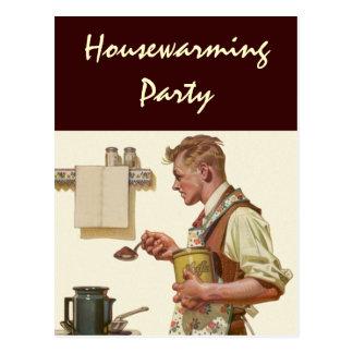 Postcard Retro Man makes Coffee Housewarming Party