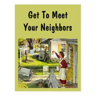 Postcard  Retro Neighborhood Social Block Party PC