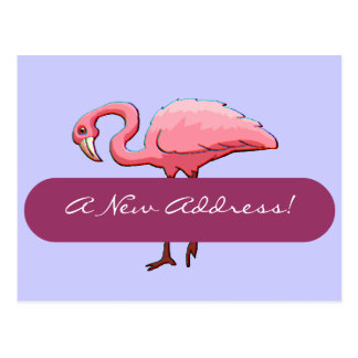 Postcard Retro Pink Flamingo New Address Announce
