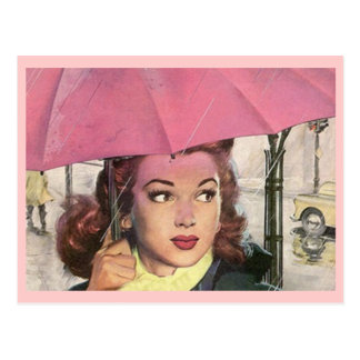 Postcard Retro Rainy Day shower & a Pink Umbrella