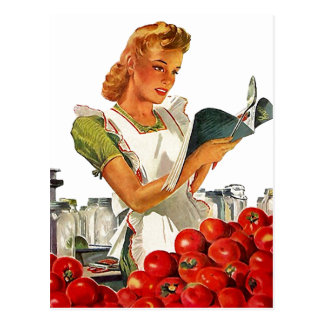 Postcard Retro Stylish Gal In Her Kitchen Canning