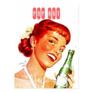 Postcard Retro Stylish Gal w/ Soda PUN FUN Pop Art