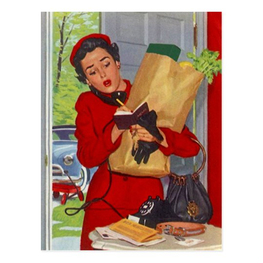 Postcard Retro Stylish Mid-Century Fashions Woman