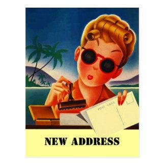 Postcard Retro Travel Contact New Address Change