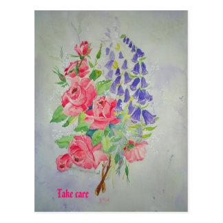 Postcard Roses and Digitalis