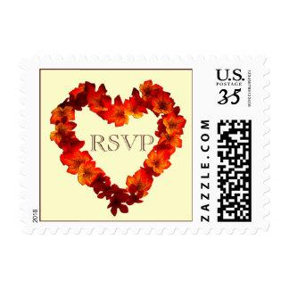 Postcard RSVP Fall Heart Wedding Postage Stamp