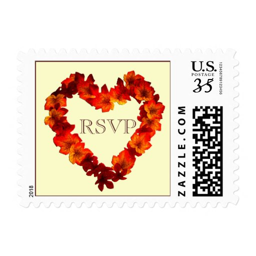 Postcard RSVP Fall Heart Wedding Postage Stamp