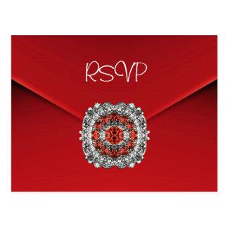 Postcard RSVP Invitation Red Diamond Jewel