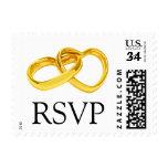 Postcard RSVP Postage Wedding Ring Stamps