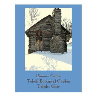 "postcard, ""Rustic Pioneer Cabin in Snow"""