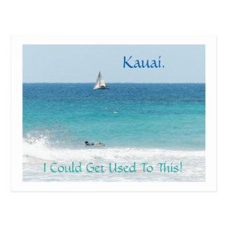 "postcard, ""SAILBOAT & BOOGIE BOARDER IN KAUAI"" Postcard"