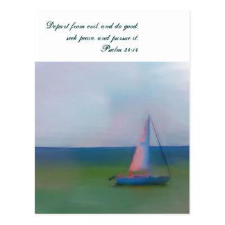 Postcard, Sailing Boat Bible Scripture, Seek Peace