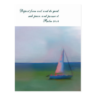 Postcard, Sailing Boat Bible Scripture, Seek Peace Postcard