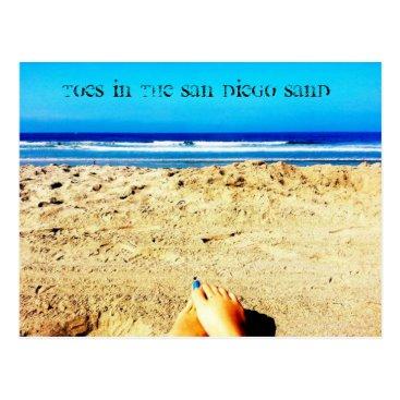 Beach Themed Postcard San Diego beach sand toes blue