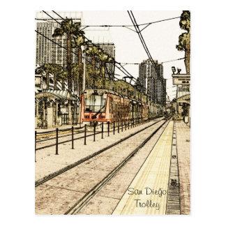 Postcard - San Diego Trolley Train Sketch