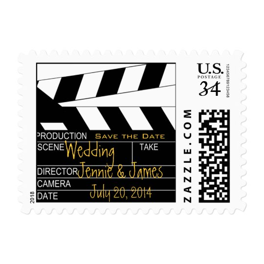 Postcard Save the Date Movie Theme Stamp