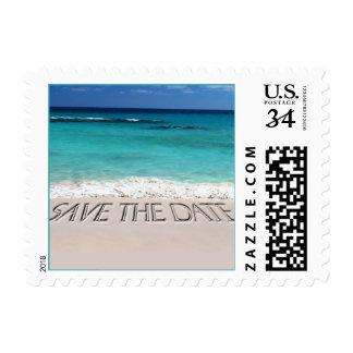 Postcard Save The Date Tropical Beach Wedding Postage