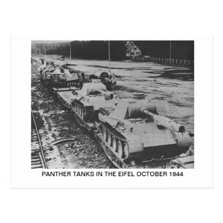 POSTCARD SHOWING PANTHER TANKS IN THE EIFEL