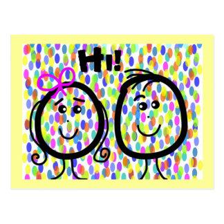 Postcard Smily Faces Hi! Colorful Dots