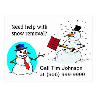 Postcard snow removal business promotion client PC