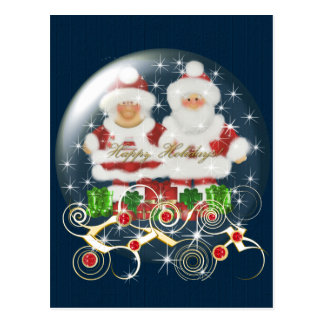 Postcard-Snowglobe Mr & Mrs Santa Christmas Postcard