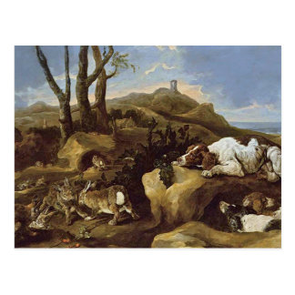 Postcard: Spaniels Stalking Rabbits in the Dunes Postcard