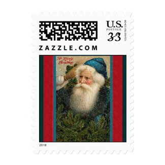 Postcard stamp Father Christmas Turquoise, red stamp