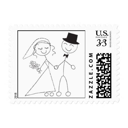 Postcard Stick Figure Wedding Couple Postage Stamp