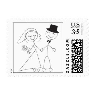 Postcard Stick Figure Wedding Couple RSVP Invite Postage