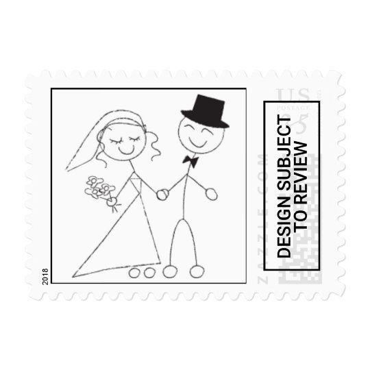 postcard stick figure wedding couple rsvp invite postage zazzle com