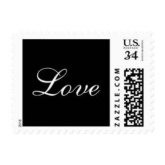 Postcard Stylish Black White Love Wedding Postage