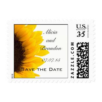 Postcard Sunflower Save the Date Postage