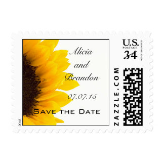 Postcard Sunflower Save the Date Postage