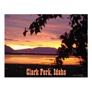 """POSTCARD ~ """"Sunset at Clark Fork Drift Yard"""""""
