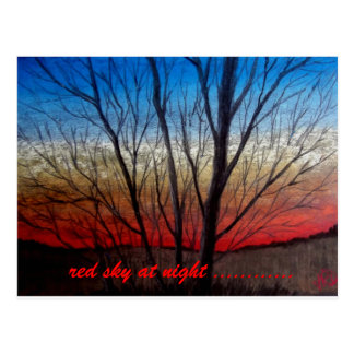 Postcard,Sunset thru trees postcard