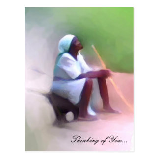 Postcard Template - Black Haitian woman sitting