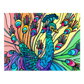 Postcard:  The Peacock Shows Its Feathers